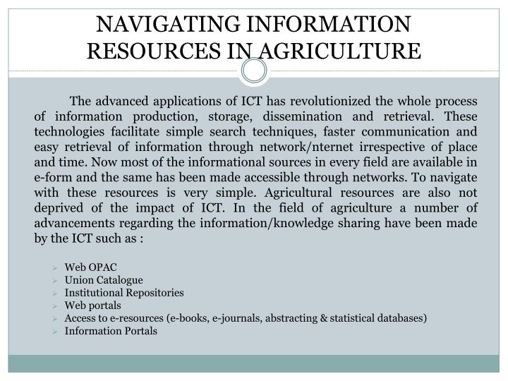Navigating information resources in agriculture