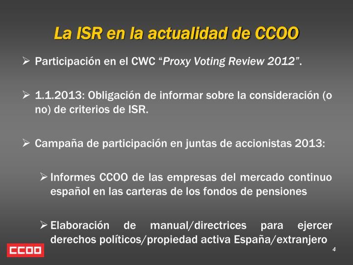 La ISR en la actualidad de CCOO