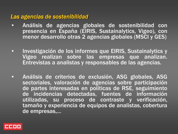 Las agencias de sostenibilidad