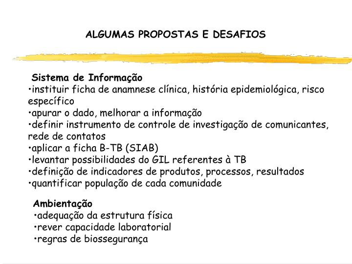 ALGUMAS PROPOSTAS E DESAFIOS