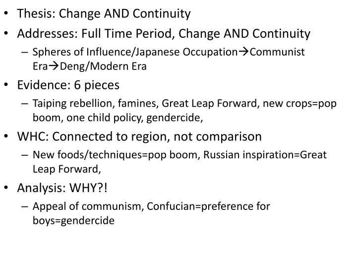 Thesis: Change AND Continuity