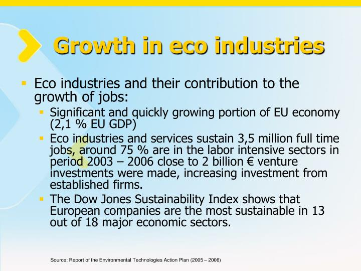 Growth in eco industries