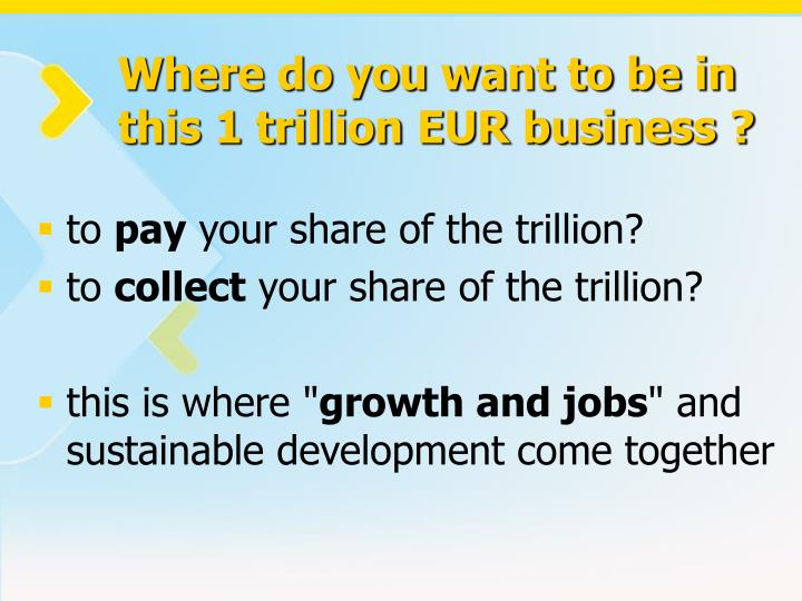 Where do you want to be in this 1 trillion EUR business ?