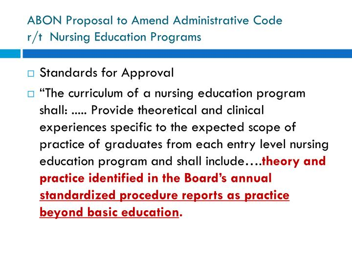 ABON Proposal to Amend Administrative Code