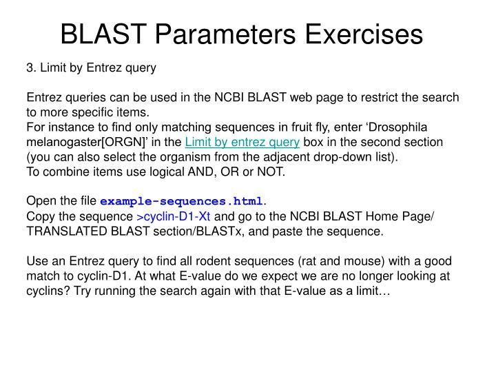 BLAST Parameters Exercises