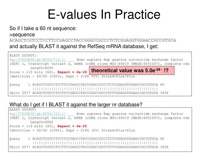 E-values In Practice