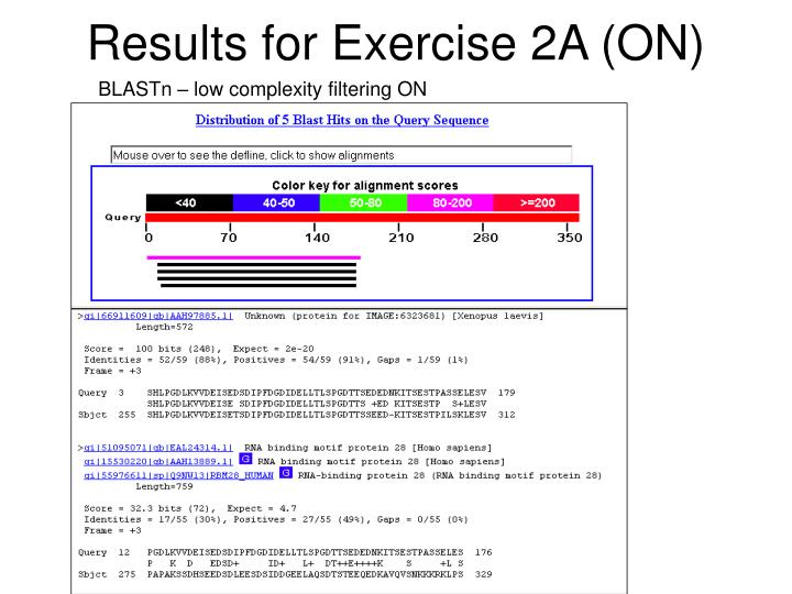 Results for Exercise 2A (ON)
