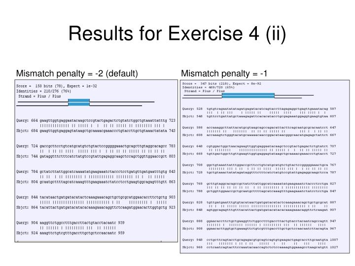 Results for Exercise 4 (ii)