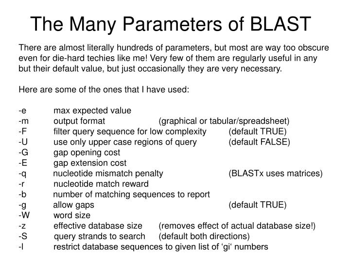 The Many Parameters of BLAST