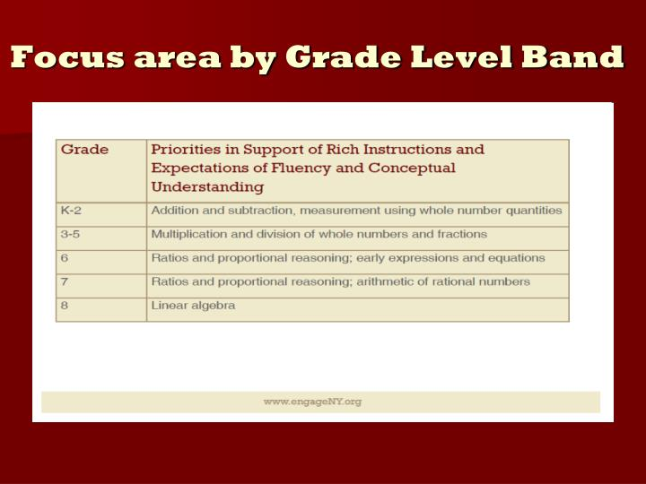 Focus area by Grade Level Band