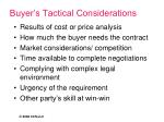 buyer s tactical considerations