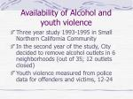 availability of alcohol and youth violence1