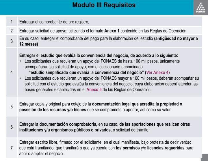 Modulo III Requisitos