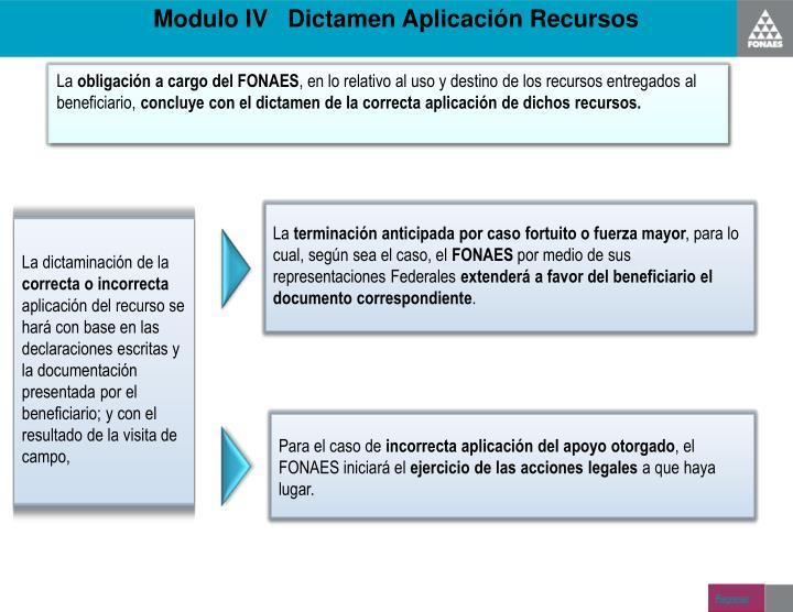 Modulo IV   Dictamen Aplicación Recursos