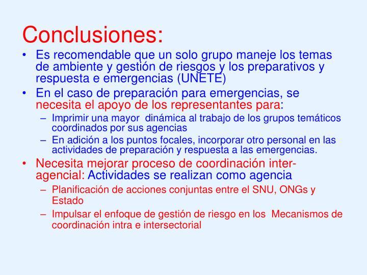 Conclusiones: