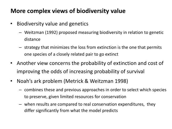 More complex views of biodiversity value