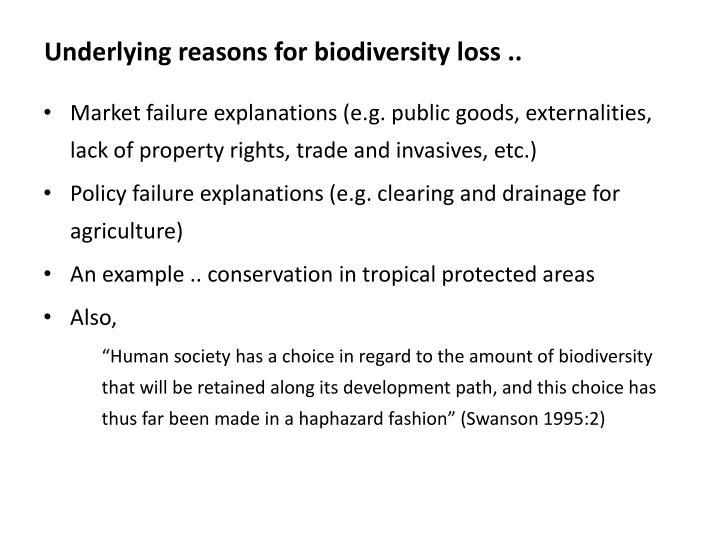Underlying reasons for biodiversity loss ..