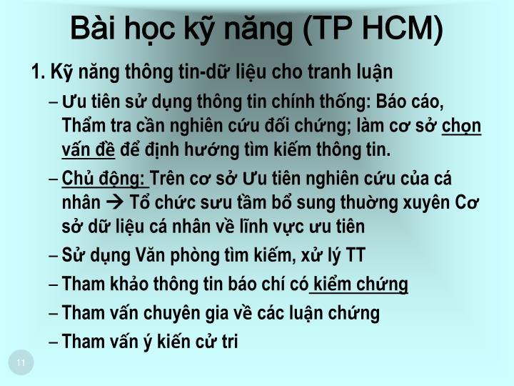 Bài học kỹ năng (TP HCM)