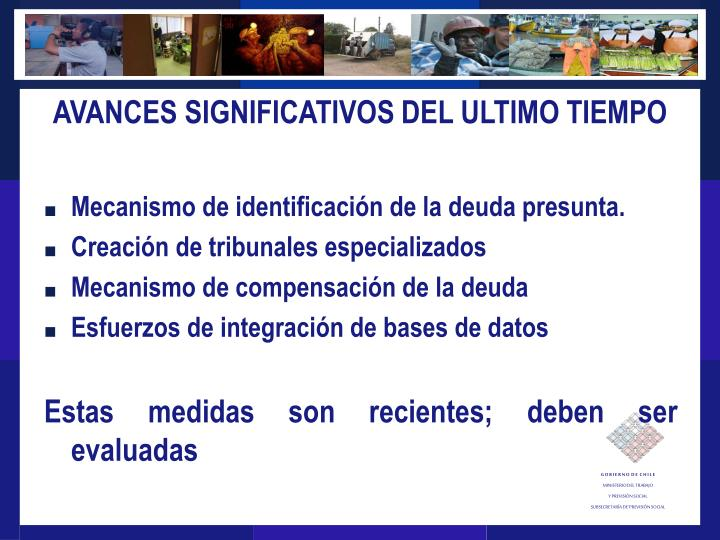 AVANCES SIGNIFICATIVOS DEL ULTIMO TIEMPO