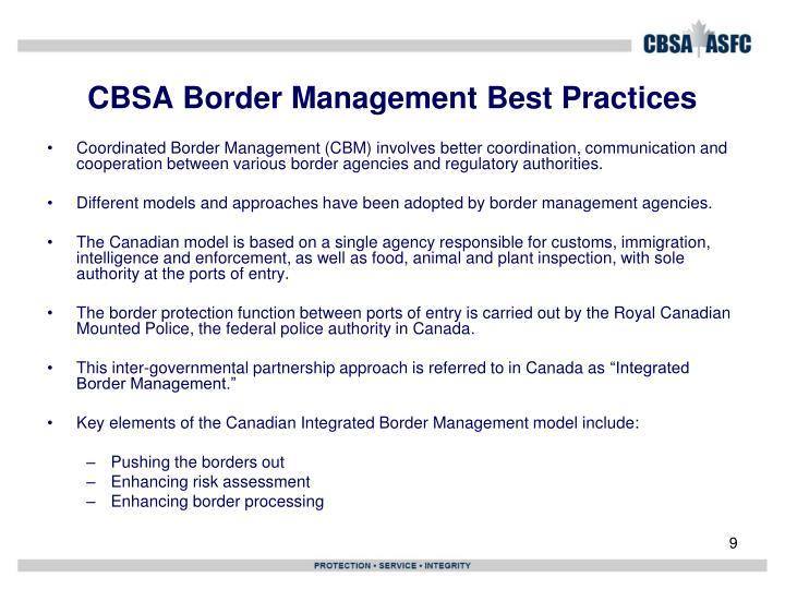 CBSA Border Management Best Practices