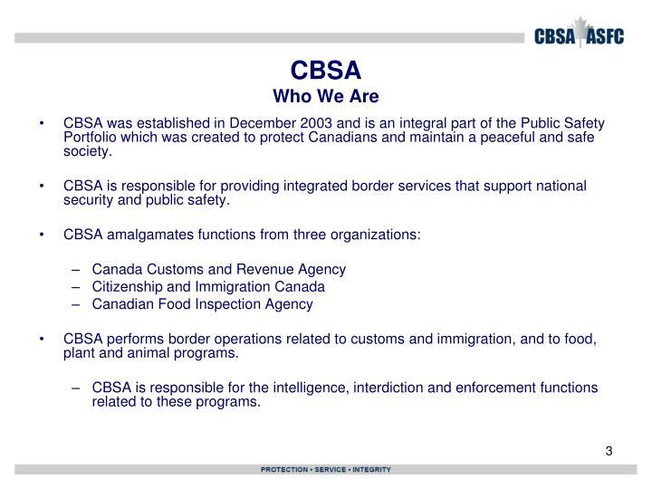 Cbsa who we are