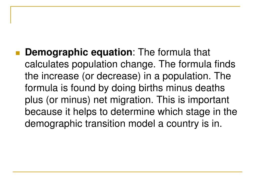 PPT - Population Density- the frequency with which something