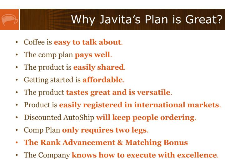 Why Javita's Plan is Great?