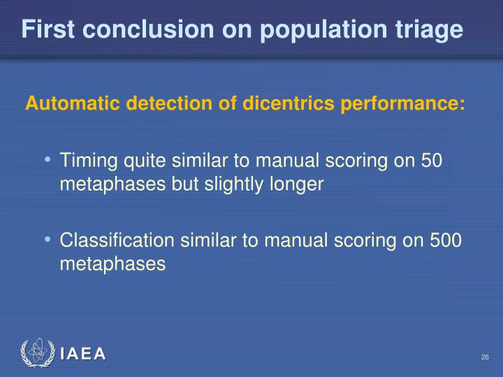First conclusion on population triage