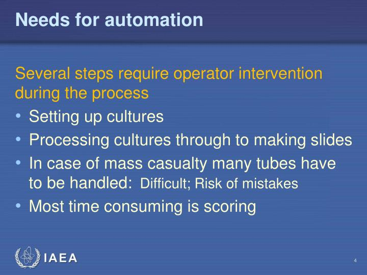 Needs for automation