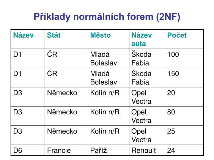 Příklady normálních forem (2NF)
