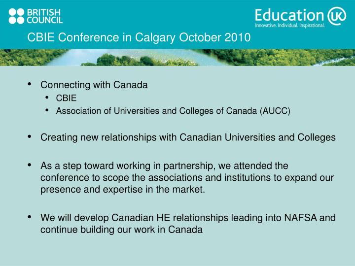 CBIE Conference in Calgary October 2010