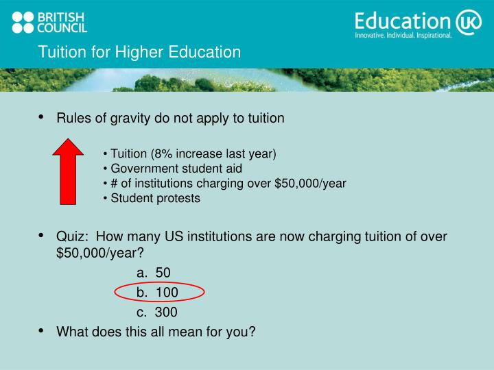 Tuition for Higher Education