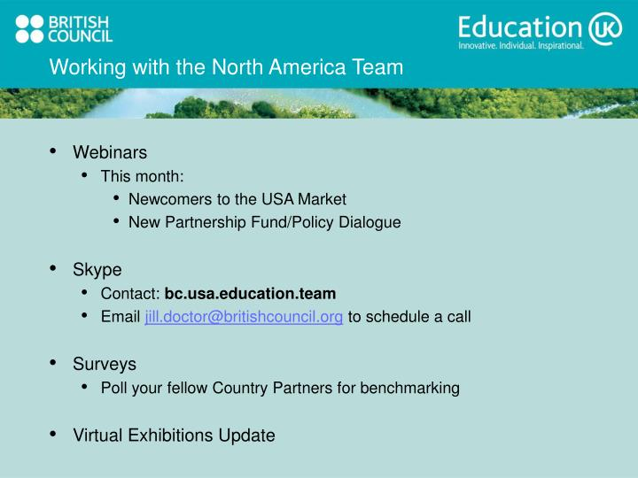 Working with the north america team
