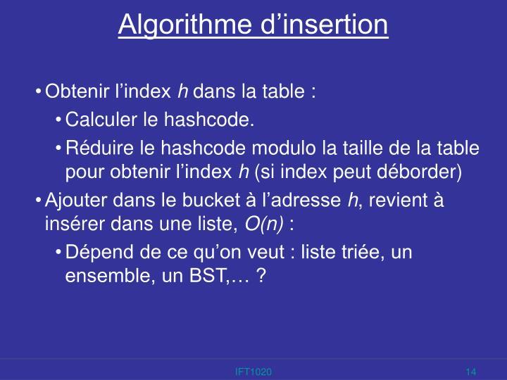 Algorithme d'insertion