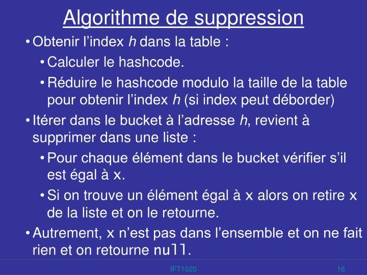 Algorithme de suppression