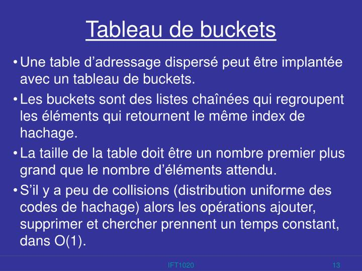 Tableau de buckets