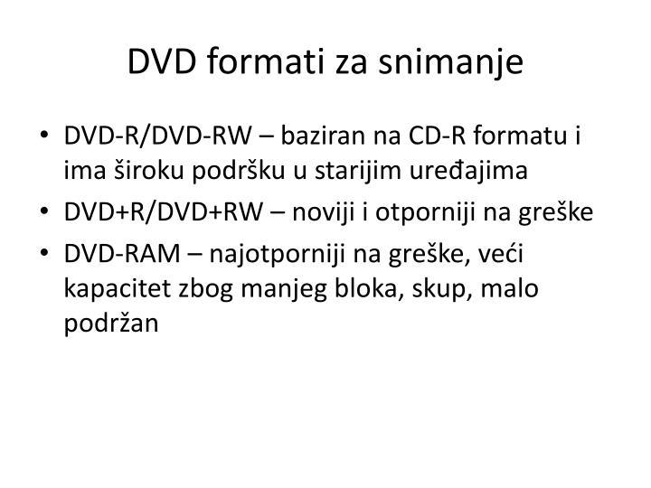 DVD formati za snimanje