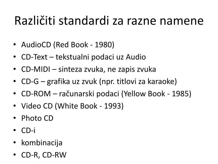Različiti standardi za razne namene