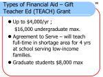 types of financial aid gift teacher ed teach grant