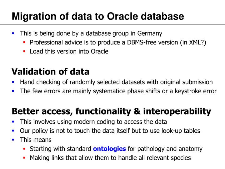Migration of data to Oracle database