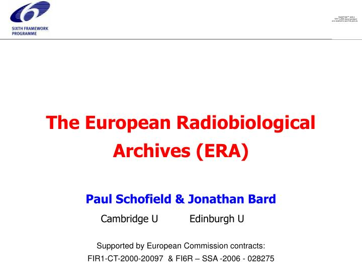 The european radiobiological archives era