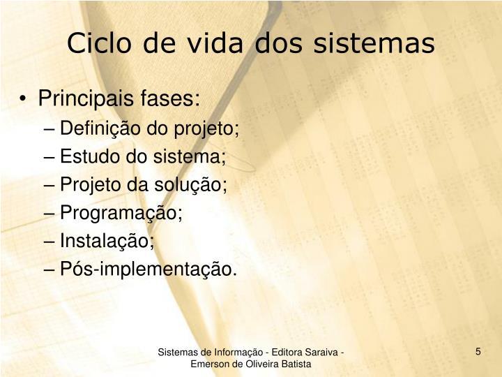 Ciclo de vida dos sistemas
