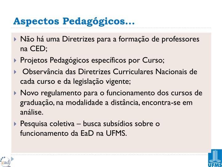 Aspectos Pedagógicos...