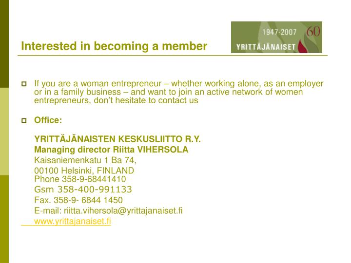 Interested in becoming a member