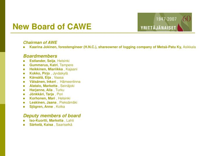New Board of CAWE