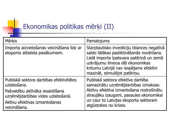 Ekonomikas politikas mērķi (II)
