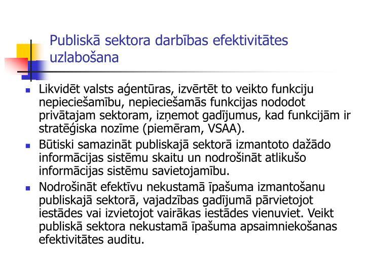 Publiskā sektora darbības efektivitātes uzlabošana