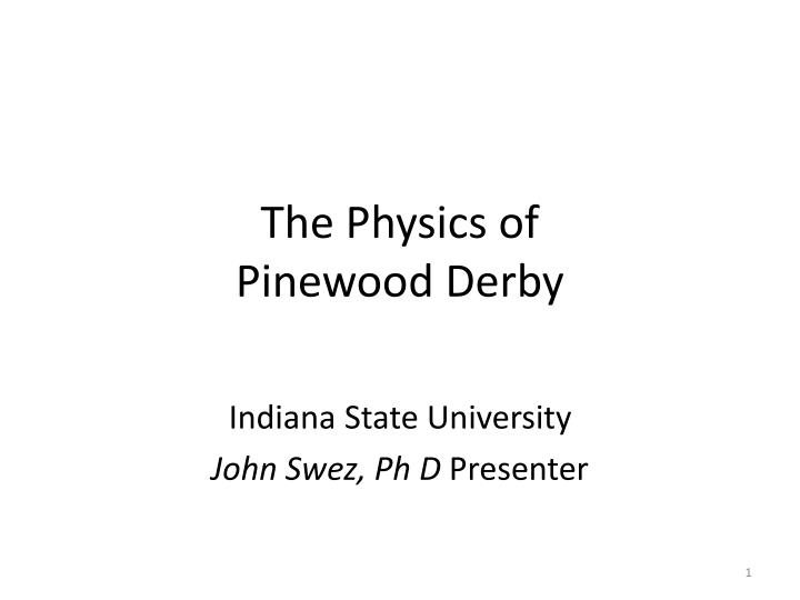 the physics of pinewood derby n.