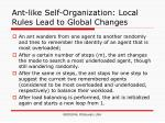 ant like self organization local rules lead to global changes