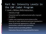 part 4a intensity levels in the cap cadet program